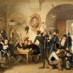 Студенты гауптвахты Академического легиона в зале старого университета в 1848 году.