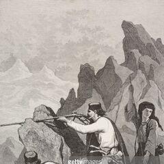 Черногорские солдаты в действии, 1877 г. Справа изображена <a href=