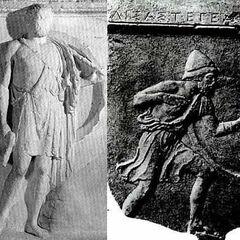 Спартанские гоплиты в эксомиде и пилосе.