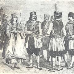 Черногорцы, 1878 г. На заднем плане видны минареты. Гравюра неизвестного автора из журнала