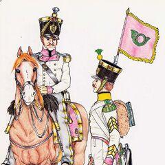 Майор (слева) и сержант-майор вольтижеров 8-го линейного полка, 1815 г.