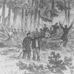 Симулянт, задержанный сержантом во время битвы при Фая Оукс в 1862 г. Хотя армия Конфедерации применяла смертную казнь для дезертиров, такой человек должен был быть очень настойчивым в нарушениях или очень несчастливым, чтобы встретить конец сидя на гробу перед расстрельной командой.
