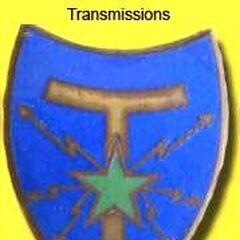 Эмблема связистов, которую носят на нагрудном кармане. Молнии символизируют передачу сообщения или сигнала, латинская буква