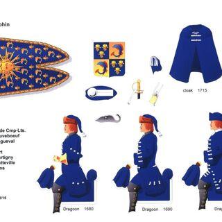 Планшет Роберта Холла, изображающий униформу драгунского полка Дофина.