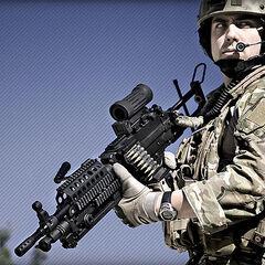 Боец спецназа США с Minimi SPW.