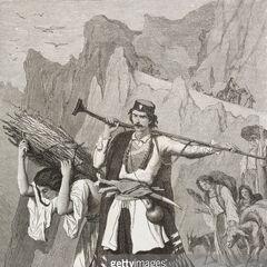 Черногорцы идут на рынок в Которе, 1877 г. Судя по грбови на капе черногорца, он является сенатором, и данный сюжет был зафиксирован не позднее 1871 г. Автор гравюры — Теодор Валерио.