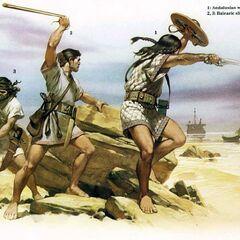 1. Андалузский воин, 2 и 3. Балеарские пращники.