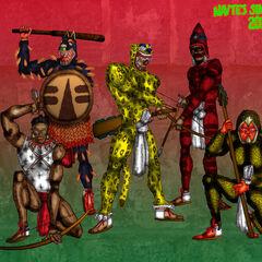 Ацтекские воины, воин-орел - крайний справа.