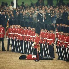 Гвардейцы не должны обращать внимания, если вдруг кто-то из их напарников упадет в обморок.