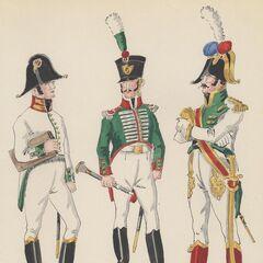 5-й линейный полк, 1813 - 1815 гг. Слева-направо: хирург, музыкант и тамбур-мажор.