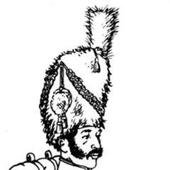 Гренадер 7-го линейного полка в парадной форме, 1812 г. Черная меховая шапка, этишкет красный, султан амарантовый (розовый). Мундир образца 1811 г. белый с желтой отделкой и белыми выпушками, эполеты амарантовые. Панталоны белые, гетры черные с латунными пуговицами. Перевязи белые кожаные, черная лакированая патронная сумка, под ней белая скатка фуражной шапки с желтой выпушкой и красной кистью. Ранец из коричневой телячьей шкуры, скатка шинели голубая. Ружье — мушкет неаполитанский, или итальянский, или <a class=