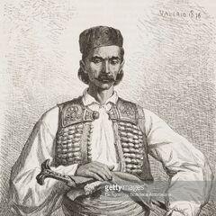 Черногорец с герцеговинского границы, 1876 г. Автор гравюры — Теодор Валерио.
