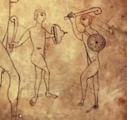 Нубийские стражники. Иллюстрация из Арнштайнской библии.
