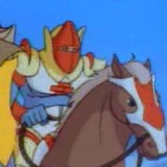 Брик в боевых доспехах и на коне.