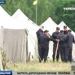 Военные палатки, в которых жили бойцы батальона во время учений.