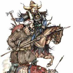 Командир отряда казахских наемников второй половины XVII в. (справа, на коне).