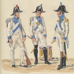 1-й линейный полк, 1806 г. Слева-направо: фузилер, барабанщик фузилеров, офицер фузилеров.