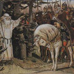 Волхв делает пророчество о смерти Олега от его коня.