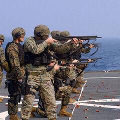 Спецгруппа морской пехоты тренируется в стрельбе.