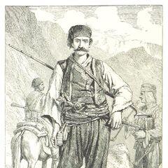 Сербский пограничный гвардеец, которые по одежде и вооружению практически идентичен черногорцу. Гравюра из монографии Д. М. Маккензи