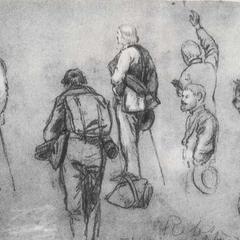 На рисунке Альфреда Вауда бывшие солдаты Конфедерации дают клятву в Ричмонде после капитуляции. У двоих почти универсальные скатки из одеял, но у второго слева солдата сохранился вещевой мешок. Фляги для воды и рюкзаки также видны вместе с типичными поношенными фетровыми шляпами.