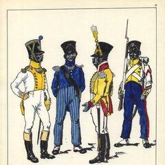 7-й линейный полк, 1812 - 1813 гг. Слева-направо: офицер, адъютант-майор, музыкант и сержант фузилеров.