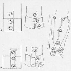 Обшлаги обр. 1806 г. (А), обшлаги обр. 1810 г. (В) и деталь фалд (C), которые использовались в неаполитанской линейной пехоте.