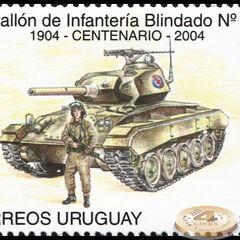 Марка, выпущенная в 2004 г. в честь столетия батальона. На танке <a class=