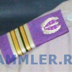 Погон военных юристов с эмблемой весов правосудия в венке. Примечателен цвет службы — лиловый. При выходной форме юристы носят петлицы с такой же эмблемой.