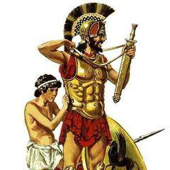 Мальчик-раб снаряжает хозяина в военный поход.