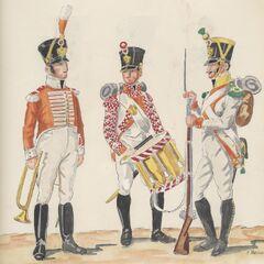 5-й линейный полк, 1811 - 1812 гг. Слева-направо: музыкант, барабанщик фузилер и вольтижер.