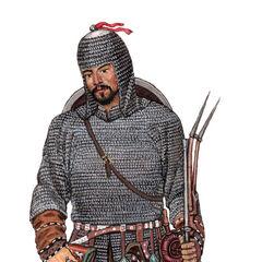 Казахский воин XVII века, мушкетер.
