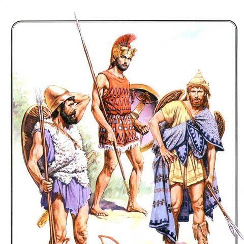 Слева-направо:<br /> 1. Греческий пелтаст (V - IV вв. до н.э.)<br /> 2. Афинский экдромой (середина V в. до н.э.)<br /> 3. Фракийский пелтаст (V в. до н.э.)