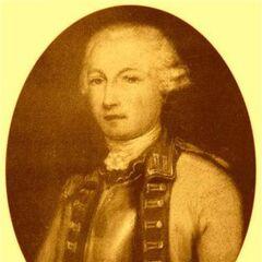 Портрет в медальоне капитана и барона Жана-Жак де Коехорна, который служил в полку добровольцев де Клермон-Принс во время дела Зверя из Жеводана. Он здесь одет в регламентированную униформу, 1762.