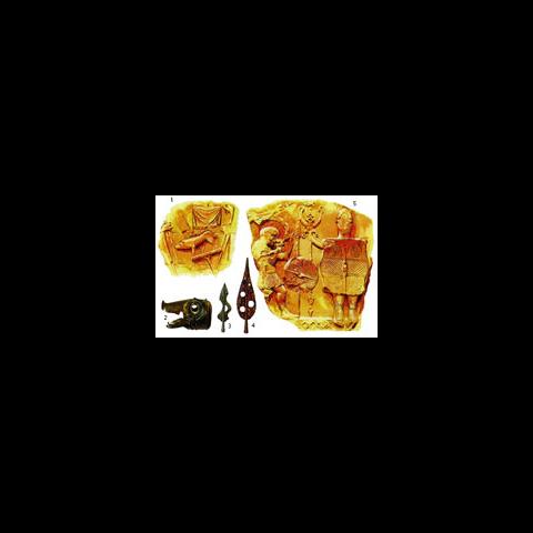 1 — скульптурные изображения с арки, которая находится в Оранже, на юге Франции. На них можно разглядеть карниксы, флаги и штандарты с изображениями животных. Последние два предмета были позднее введены в римской армии. 2 — голова карникса, наиболее распространенной формы кельтской трубы, из Дескфорда, Шотландия (см. Гундеструпский котел на предыдущей странице). 3 и 4 — наконечники копий, украшенные узором. Это обычная находка среди предметов, принадлежавших кельтам; возможно, они использовались на штандартах. 5 — скульптуры из Бормио в северной Италии, изображающие кельтских знаменосца и горниста. На гробнице римского знаменосца III в. н.э., обнаруженной в Каррау бурге, близ Адрианова вала, изображен щит, практически идентичный тому, что был у знаменосца из Бормио.