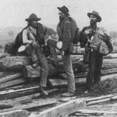 Три солдата-конфедерата из дивизии Пикетта, сфотографированные захватившими их северянами 7 июля 1863 г. Они отдали свои винтовки, но сохранили все свое имущество, включая бутылки для воды, жестяные кружки, скатки из одеял и заплечные мешки. Их