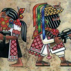 Пропагандистское изображение, изображающее древних колумбийцев с современным оружием.