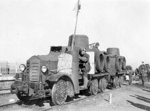 Type 91 Broad-gauge Railroad Tractor hooked to another Type 91 Broad-gauge Railroad Tractor