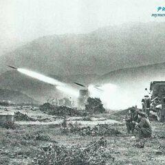 Китайская артиллерия ведёт огонь по позициям вьетнамцев, Вьетнамо-китайская война, 1979 год.