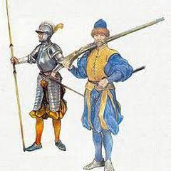 Шведский пикинер (слева) и аркебузер времен короля Эрика XIV.