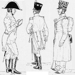 Неаполитанская линейная пехота, 1812 г. Слева-направо: капеллан, офицер фузилеров и фузилер в шинели. В зависимости от цвета приборного сукна, изображенные солдаты могут принадлежать к разным полкам.