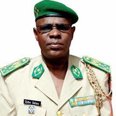 Салу Джибо в чине корпусного генерала. Генерал в повседневной форме песочного цвета и зеленом берете, На правом нагрудном кармане генерала — эмблема артиллерии Нигера.