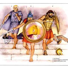 1. Метатель дротиков; 2. Офицер неизвестного подразделения; 3. Греческий пехотинец-союзник.