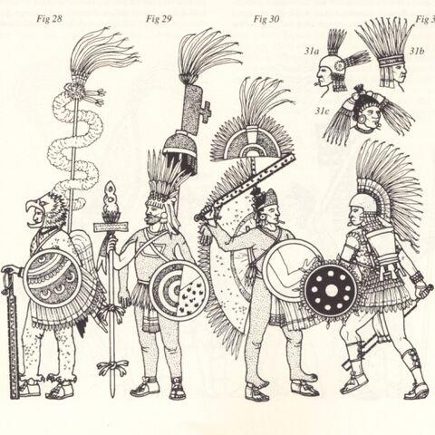 Среди тлатоани не регламентировалась никакая униформа: они носили то, что захотят. Здесь представлено несколько нарядов тлатоани, запечатленных в мексиканских кодексах. Слева-направо: <a href=