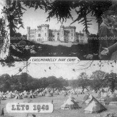 Сверху: Подписание британским и чехословацким правительствами договора о создании бригады. Снизу: учебный лагерь бригады.