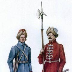 Десятник выбранецкой пехоты (справа) и рядовой пехотинец.