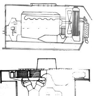 Схема установки двигателя.