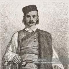 Черногорец с окраин Цетинье, 1876 г. Автор гравюры — Теодор Валерио.