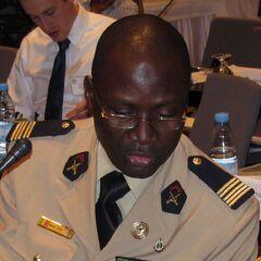 Офицер Сенегала с петлицами с эмблемами рода войск.