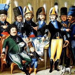 Виконт Мирабо (сидит, в зеленом мундире) вместе с офицерами своего легиона.